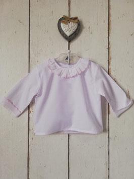 Bluse in weiß-rosa mit Rüschen Nr.OT020