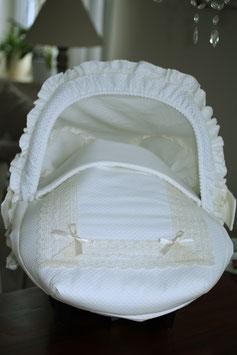 Baby Autoschalensitzbezug creme mit Spitze Nr.002