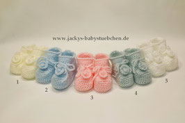 Häkelschuhe mit Rosette in 5 Farben Gr. Newborn Nr.HS 006