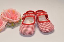 Babyschuhe in rot-weiß kariert Gr.16 Nr.925