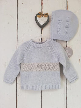 WEDOBLE Sweater in stahlblau mit Muster Nr.JOT007