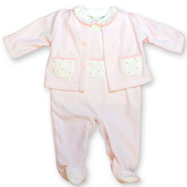 3 teil. Babyoutfit in rosa-creme Nr. S018
