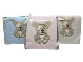 Babydecke mit Häschen Applikation in 3 Farben 80X110 Nr.BD 010