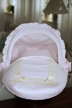 Baby Autoschalensitzbezug in rosa mit Spitze Nr.003