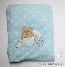 Babydecke in hellblau oder rosa  mit weißen Pünktchen Nr.BD 005