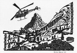 Scherenschnittkarte Air Zermatt