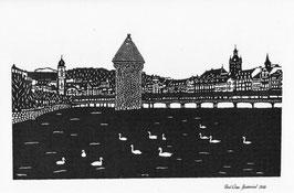 Scherenschnittkarte lang, Kapellbrücke Luzern