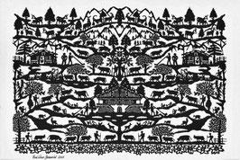 Scherenschnittkarte Berg und Tal