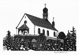 Scherenschnittkarte Flüeli-Kapelle OW