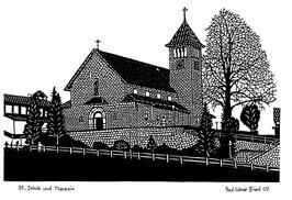 Scherenschnittkarte Pfarrkirche Emmetten