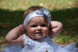 Bandeau baptême bébé enfant fille blanc gris argenté pour baptême, mariage/ papillon à personnaliser avec prénom /date baptême