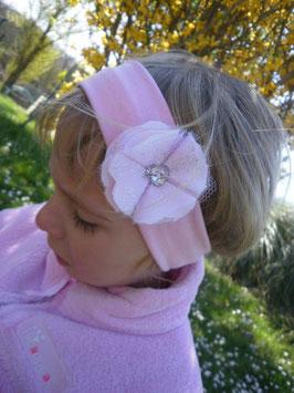 Bandeau bébé baptême fleur rose en coeur strass et féérique