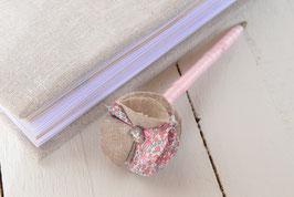 Stylo livre d'or fleur liberty Eloïse rose corail lin argenté métallisé & strass pour mariage baptême