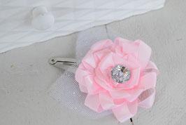 Barrette baptême bébé fleur rose satin tulle paillette pour Baptême, cérémonie, mariage pour enfant, femme, maman, grande soeur