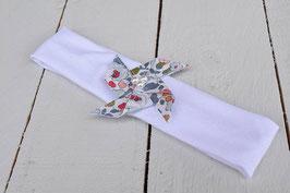 Bandeau bébé enfant moulin à vent liberty betsy porcelaine bandeau coton blanc baptême cérémonie mariage