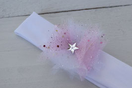 bandeau baptême bébé enfant fille blanc fleur tulle blanche rose clair paillette baptême cérémonie