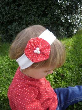 Bandeau bébé fille blanc fleur tissu rouge à pois blanc