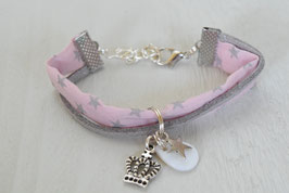 Bracelet liberty enfant fille tissu  liberty rose et étoile / couronne et nacre / idée cadeau anniversaire noël