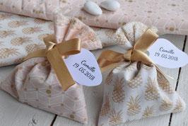ballotins dragées rose poudré motif géométrique ou doré ananas  / pochon dragées / sachet dragées / ballotins baptême mariage communion