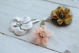 Barrette fleur enfant femme fêtes mariage cérémonie baptême noël fleur dorée noir corail pince cheveux clic clac artisanal idée cadeau