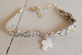 Bracelet liberty adelajda marron avec croix pour baptême, communion, confirmation