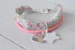 Bracelet enfant liberty Katie & Millie rose breloque oiseau et étoile nacre  - idée cadeau anniversaire noël