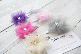 Barrette baptême fêtes baptême mariage noël étoile pour bébé enfant maman fillette femme fleur tulle paillette