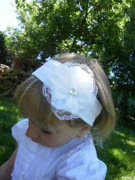 Bandeau bébé fille blanc pour baptême, cérémonie, mariage style vintage dentelle fait-main
