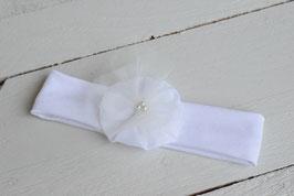 Bandeau baptême blanc bébé fille fleur vaporeuse tulle