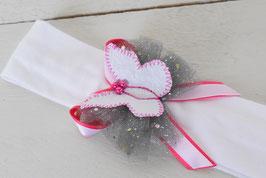 Bandeau baptême papillon gris rose fuchsia blanc cérémonie