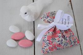 Sachets dragées liberty Wiltshire corail- Pochon dragées baptême mariage communion