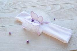 bandeau bébé baptême, cérémonie, mariage avec papillon blanc & parme/mauve