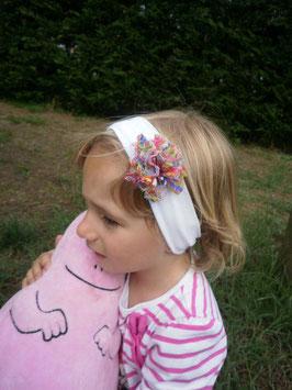 Bandeau bébé fille fleur en dentelle multicolore