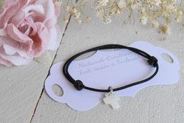 Bracelet cordon noir avec croix pour baptême, communion, confirmation