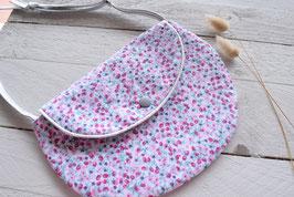 Sac enfant 2/10 ans tissu liberty mauve rose argenté / petit sac à mainfillette fille création artisanale