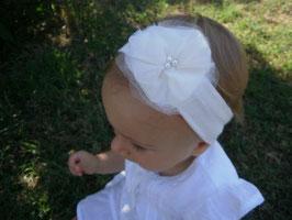 Bandeau baptême bébé fille fleur écrue pour baptême, cérémonie, mariage