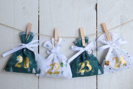 Calendrier de l'avent Noël AF 24 sachets en tissu à remplir, réutilisable et création artisanale en tissu vert étoile sapin