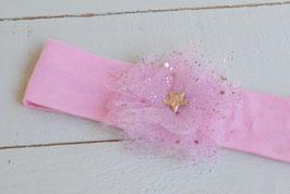 bandeau bébé fille rose fleur tulle poussières d'étoiles baptême noël
