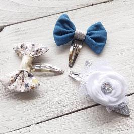 Barrette pince cheveux clic-clac pour enfant petite fille noeud liberty doré / noeud bleu jeans / fleur blanche feutrine argenté