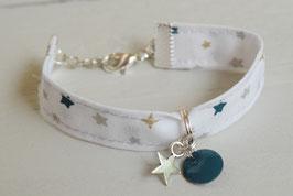 Bracelet enfant fillette tissu noël blanc étoile bleu or argenté - idée cadeau anniversaire noël fille bijou artisanal