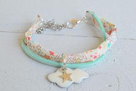 Bracelet enfant liberty adelajda corail vert nuage étoile idée cadeau anniversaire noël