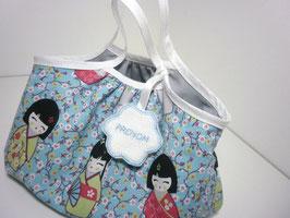 Sac enfant prénom / sac en tissu poupée kokeshi pour petite fille forme boule, idée cadeau de noël, anniversaire...