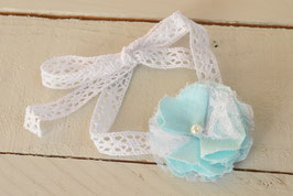 Bracelet femme ou enfant dentelle fleur lin Mint et dentelle
