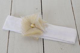 Bandeau bébé enfant tulle féerique blanc or pour fêtes de fin d'année noël