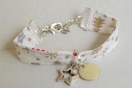 Bracelet enfant fillette tissu noël doré sapin étoile sequin beige - idée cadeau anniversaire noël fille bijou artisanal