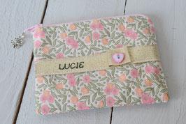 Porte monnaie enfant broderie prénom Vintage fleurs rose-vert doré