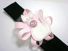 bandeau bébé fille Le Chat blanc avec son diamant rose !