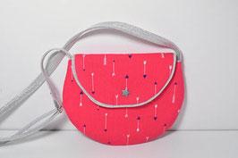 Petit sac à main enfant 2/10 ans petite fille tissu rose argenté motif flèches, ethnique