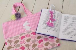 Petit sac enfant Pâques Lapin rose vichy oiseau  + Marque Page Paillette rose