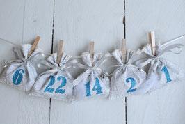 Calendrier de l'avent Noël réutilisable en tissu blanc argenté bleu turquoise